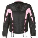 Xelement Women's Black and Pink Tri-Tex Fabric Vented Motorcycle Jacket with Level-3 Advanced .